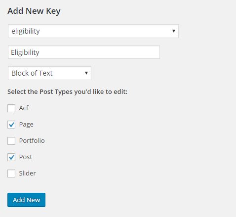 Add a new bulk edit key, in the settings section